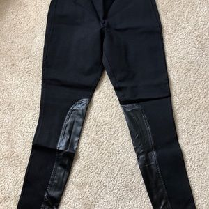 J Crew Black Pants with Leather Accents
